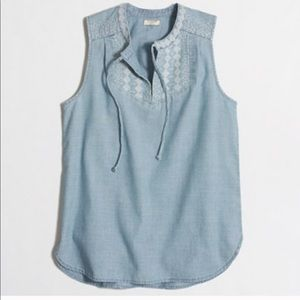 J.Crew Chambray embroidered tank top
